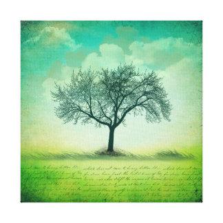 Toile Paysage solitaire d'arbre avec l'écriture