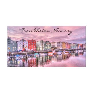 Toile Paysage urbain de scène de bateau de Trondheim