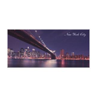 Toile Paysage urbain d'horizon de nuit de New York City