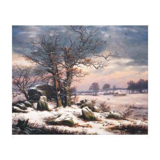 Toile Paysage Vordingborg d'hiver de Johan Christian
