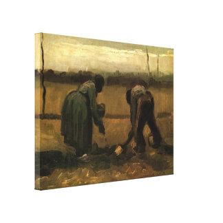 Toile Paysan de Van Gogh et femme de paysan plantant la