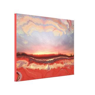 Toile Peint sur la photo de coucher du soleil