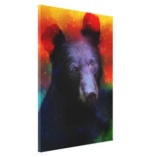 Toile Peinture abstraite colorée d'ours noir