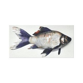 Toile Peinture argentée de poisson rouge