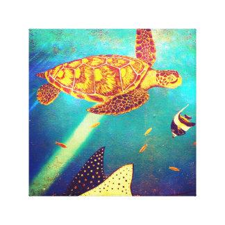 Toile Peinture colorée de tortue de mer d'océan bleu