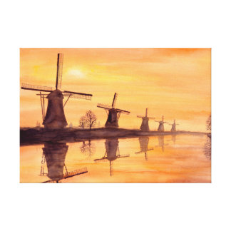 Toile Peinture d'aquarelle de coucher du soleil de
