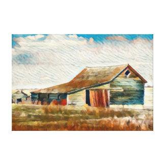 Toile Peinture élevée de grange de plaines