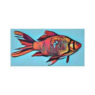 Toile Peinture lumineuse de poisson rouge