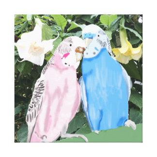 Toile Perruches de rose et de bleu et trompettes de