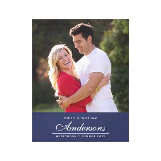 Toile Photo cursive de nom de famille de nom Editable de