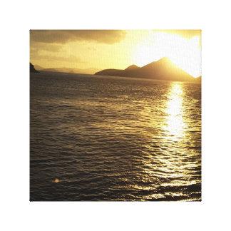 Toile Photo de lever de soleil d'île des Caraïbes