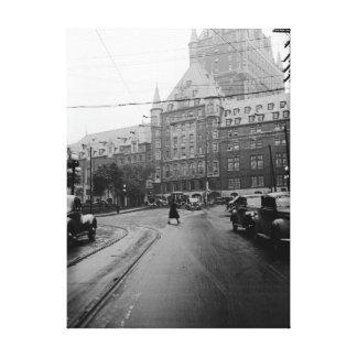 Toile Photo des années 1930 de rue de voitures de