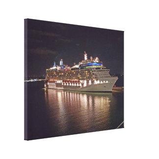 Toile Photographie de nuit de bateau de croisière