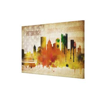 Toile Pittsburgh, horizon de ville d'aquarelle de la PA