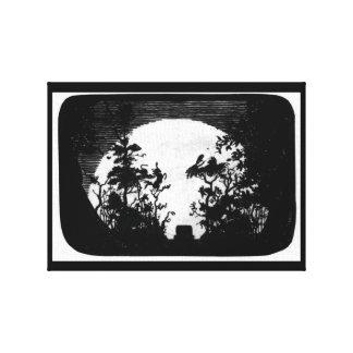 Toile Pleine lune au-dessus du cimetière --