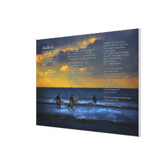 Toile Poème de desiderata sur surfer au crépuscule -