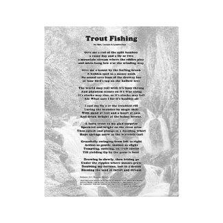 Toile Poème de pêche de truite