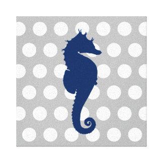 Toile Pois gris et blanc d'hippocampe de bleu marine