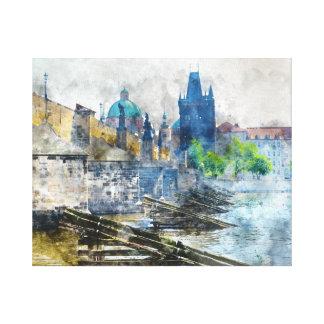 Toile Pont de Charles dans la République Tchèque de