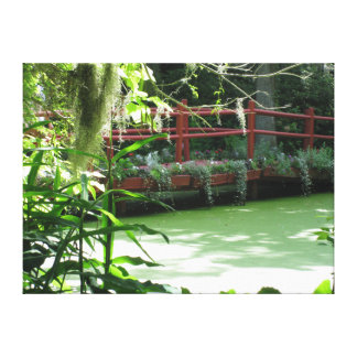 Toile Pont de jardin de thé au-dessus d'étang de