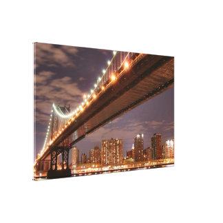 Toile Pont de Manhattan la nuit, New York City
