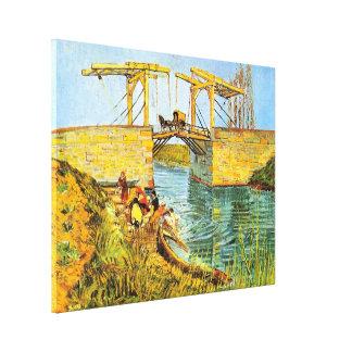 Toile Pont de Van Gogh Langlois au lavage de femmes
