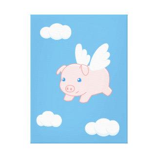 Toile Porc de vol - porcelet mignon avec des ailes