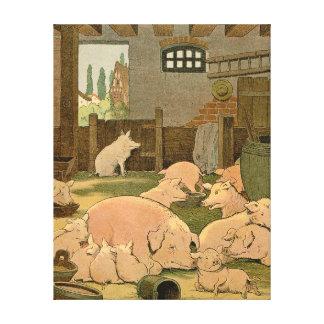 Toile Porcs et porcelets à la ferme