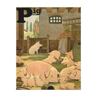 Toile Porcs satisfaits sur l'alphabet de ferme