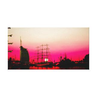 Toile Port de Brêmois - coucher du soleil