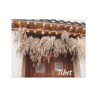 Toile Porte en bois de village traditionnel tibétain