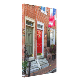 Toile Porte rouge et verte sur l'allée de Philadelphie