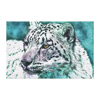 Toile Portrait de léopard de neige dans Teal