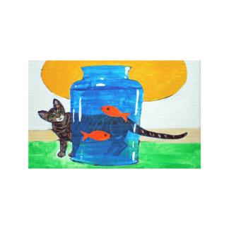 Toile pot bleu avec les poissons et le chat