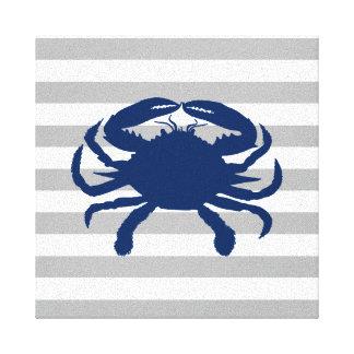 Toile Rayures grises et blanches de crabe de bleu marine
