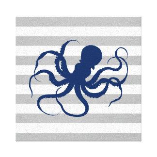 Toile Rayures grises et blanches de poulpe de bleu