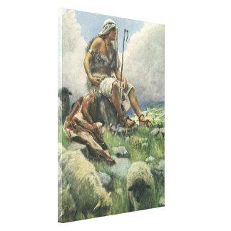 Toile Religion vintage, David le berger, attrapant