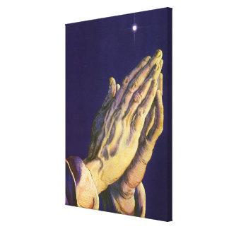 Toile Religion vintage, mains priant vers le ciel