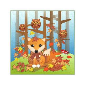 Toile Renard et hibou mignons en automne