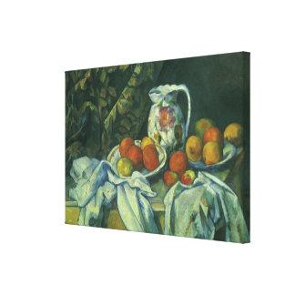 Toile Rideau et broc fleuri par Paul Cezanne