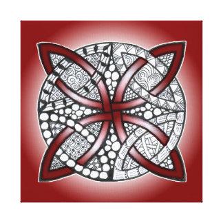 Toile Rouge celtique de rouge foncé de griffonnage de