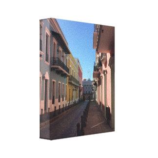 Toile Rues vieux San Juan historique de pavé rond