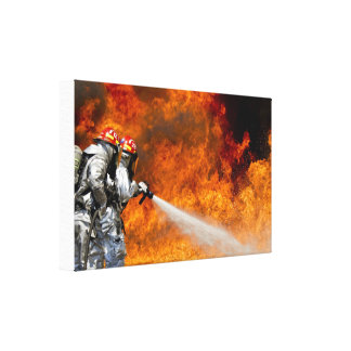 Toile Sapeurs-pompiers de héros combattant la copie de