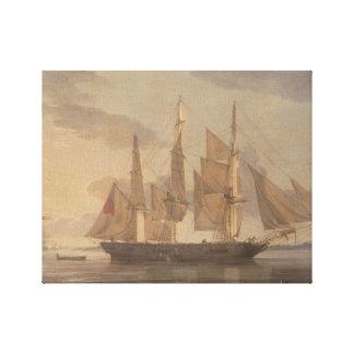 Toile Saumon de Robert - bateaux dans le port