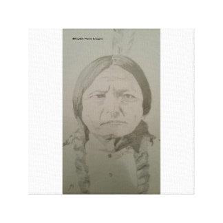 Toile Séance Taureau : Guerrier indien indigène de Sioux