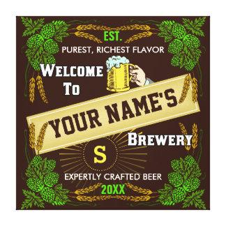 Toile Signe bienvenu personnalisé de brasserie/bière