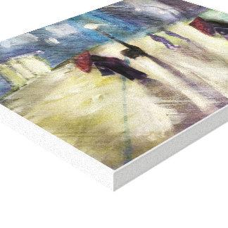 Toile SOIRÉE PLUVIEUSE, - aquarelle, copie enveloppée de