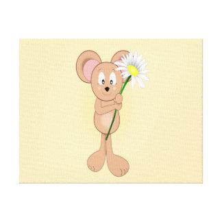 Toile Souris adorable de bande dessinée avec la fleur