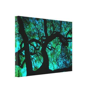 Toile Sous l'arbre en turquoise