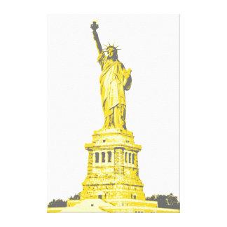 Toile Statue de la liberté aux nuances de jaune et du